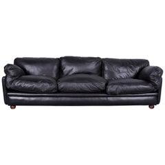 Poltrona Frau Designer Leather Sofa in Black Three-Seat Couch