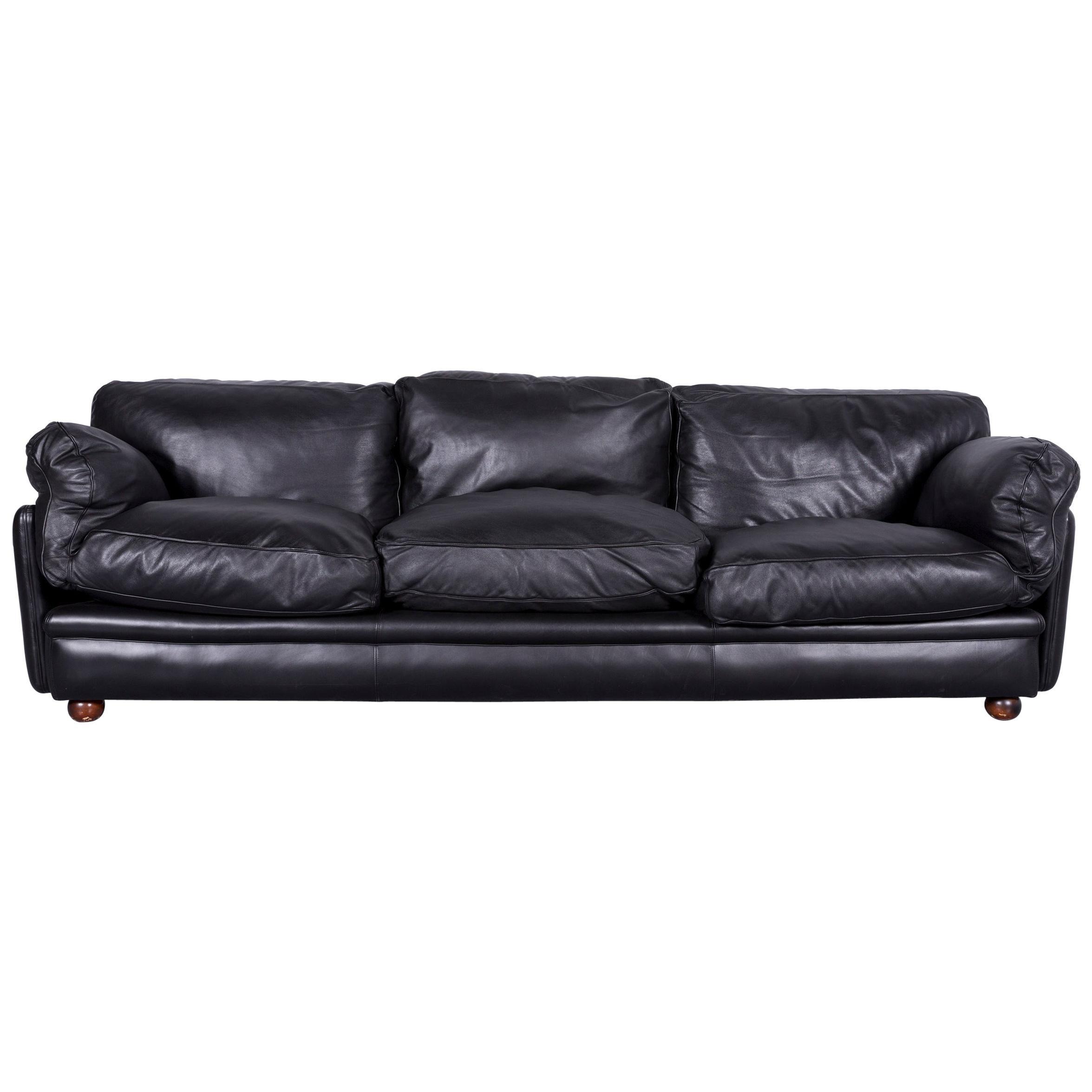 Poltrona Frau Designer Leather Sofa In Black Three Seat Couch