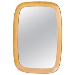 Midcentury Oak Wall Mirror from Fröseke, Sweden, 1950s