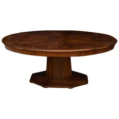 Figured Walnut Oval Dining or Library Table, Scotland, circa 1920