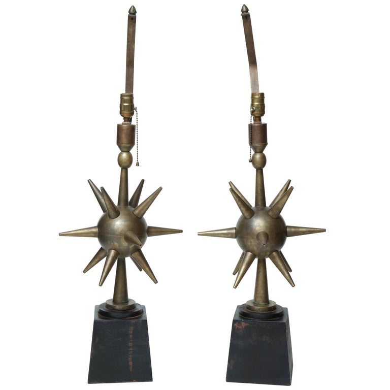 Pair of Arturo Pani Style Sphere Starburst Bronze Lamps