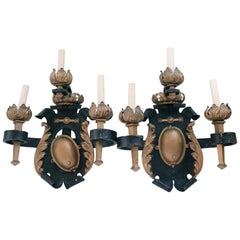 1810 Pair of French Made Wrought Iron and Gilt Triple Candlestick Arm Sconces