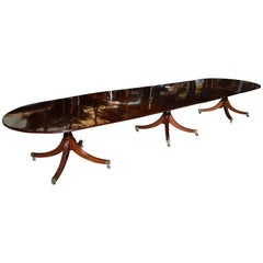 English Regency Mahogany Triple Pedestal Dining Table