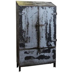 1930s Vintage Industrial Steel Cabinet Half Stripped and Lacquered