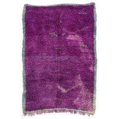 Vintage Berber Purple Moroccan Rug with Modern Style