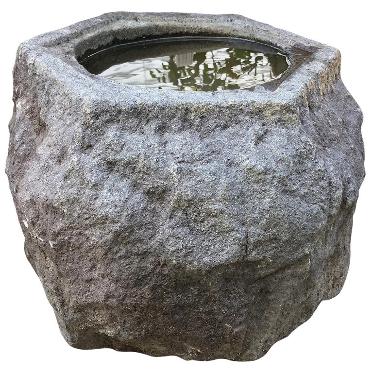 "Precious Japanese Old Hand Carved Gray ""Boulder"" Stone Basin Planter, Unique"