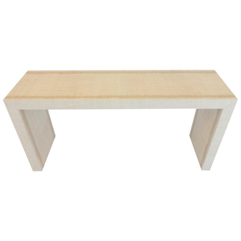 Grasscloth Parson's Table For Sale