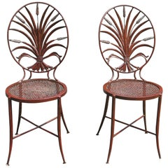 Pair of Salvadori Wheat Back Iron Chairs Italian Chairs