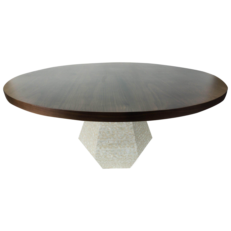 Modern Round Walnut Dining Table