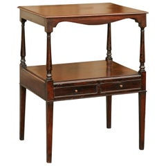French Mahogany Side Table with Lower Shelf and Two Drawers, circa 1870