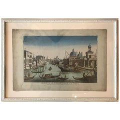 18th Century Vue d'Optique Hand-Colored Engraving of the Grand Canal, Venice
