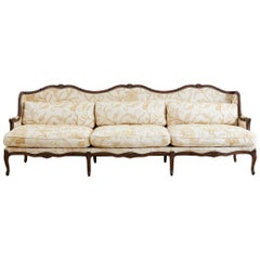 French Louis XV Carved Wingback Crewel Sofa