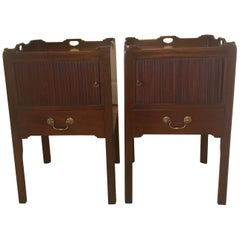Pair of English George III Style Tambour Door Tables Stands