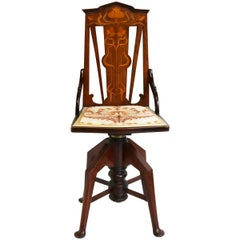 Magnificent Antique Swivel Art Nouveau Music Chair Mahogany Music Stool, 1900s