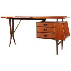 Rare Midcentury Teak Desk Designed by Louis Van Teeffelen for Webe, 1950 Brown