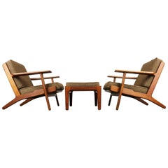 Rare Pair of GE290 Lounge Chairs and Ottoman by Hans J. Wegner Teak GETAMA