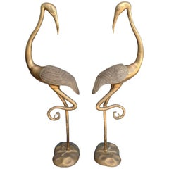 Pair of Midcentury Brass Figures of Cranes