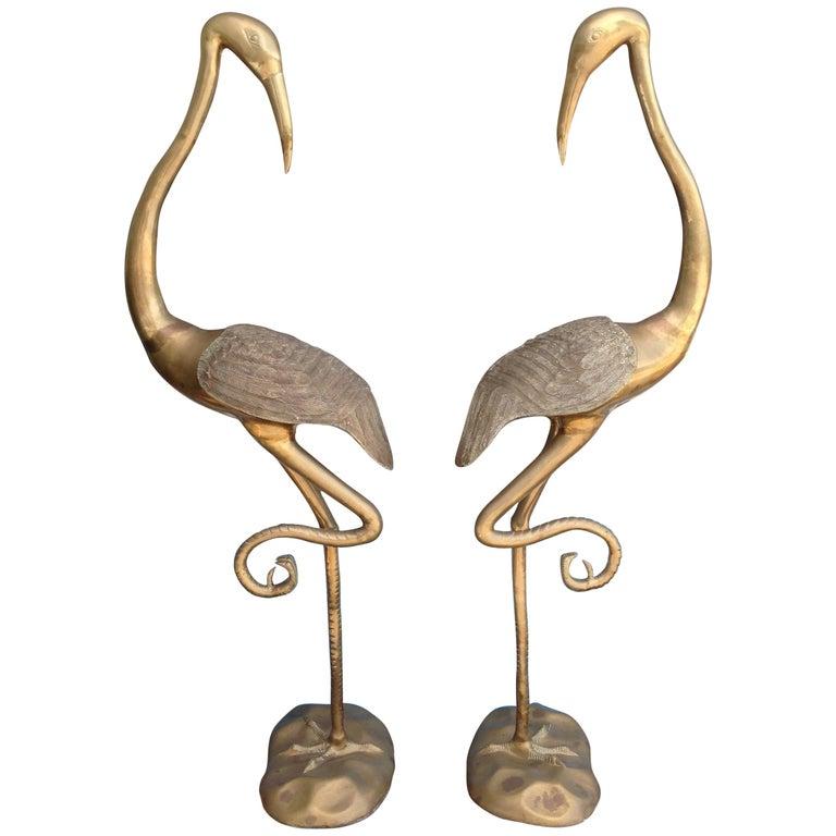 Pair of Midcentury Brass Figures of Cranes