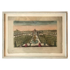 18th Century Vue d'Optique Hand-Colored Engraving of a Spanish Palace, Madrid