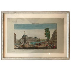 18th Century Vue D'optique Hand-Colored Engraving of Gaapers Bridge, Rotterdam