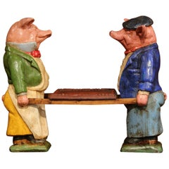 Pair of Early 20th Century French Hand Painted Ceramic Pig Sculptures with Tray