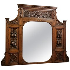 19th Century French Provincial Oak Heavily Carved Overmantel Mirror