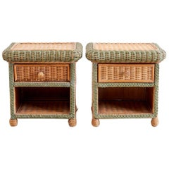 Pair of French Wicker Nightstands Attributed to Grange