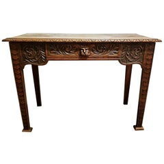 19th Century French Provincial Oak Side or Console Table