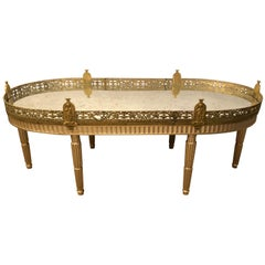 Hollywood Regency Plateau Style Coffee Table in Louis XVI Manner in Silver Gilt