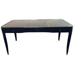 Ralph Lauren Hollywood Regency Style Ebonized and Chrome Mounted Desk / Vanity