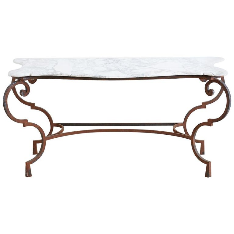 Louis XV Style Iron Marble Top Console Table