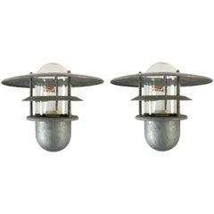 Pair of Danish Steel Outdoor Sconce Lamps