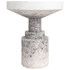 Chunk 01 Side Table, White Cement and Rock Salt by Fernando Mastrangelo