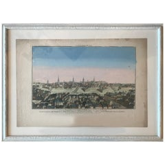 18th Century Vue d'Optique Hand-Colored Engraving of the City of Berlin