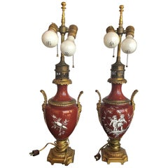 Pair of French, Porcelain and Bronze Lamps
