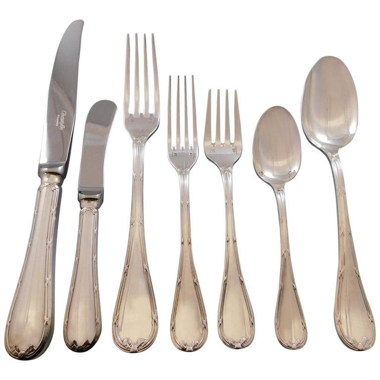 Rubans by Christofle France Silverplate Flatware Set 12 Service Dinner 92 Pieces