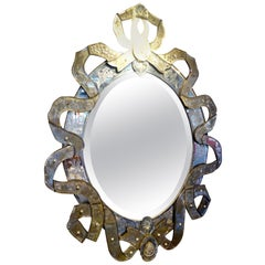 Cartouche Form 19th Century Venetian Glass Mirror
