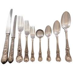 Coburg CJ Vander English Sterling Silver Flatware Set 12 Service Dinner 111 Pcs