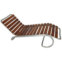 Modernist / Bauhaus Style Chaise in Aluminum and Claro Walnut