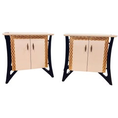 Pair of Hollywood Regency Style Parcel Paint Decorated Nightstands / End Tables