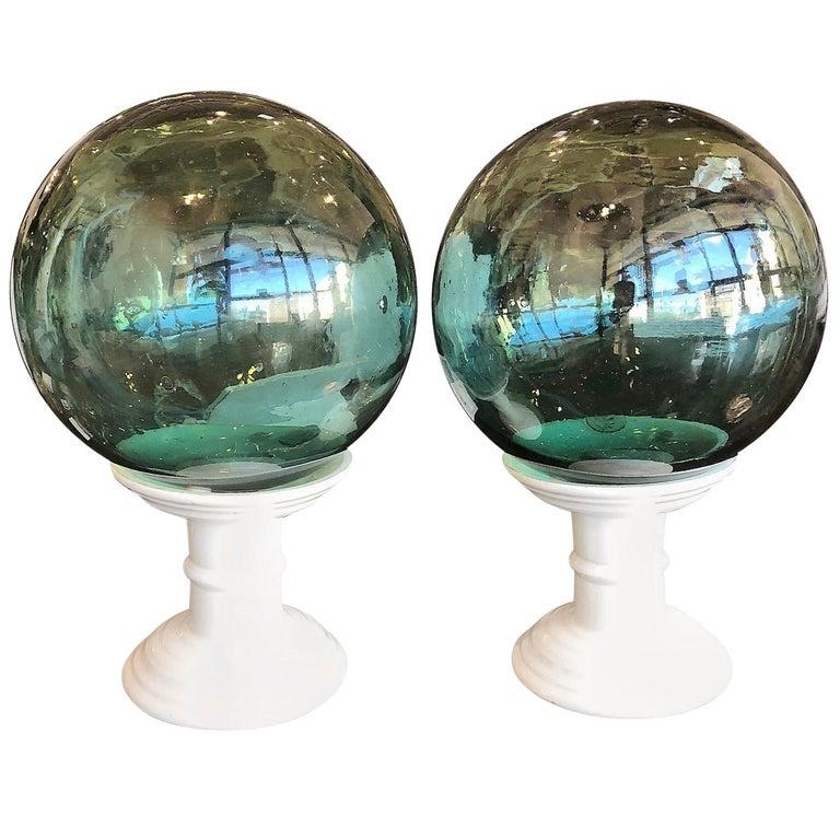 Pair of Early 20th Century Handblown Glass Orbs