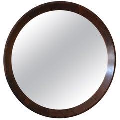 Round Danish Rosewood Mirror by Hans Gustav Ehrenreich