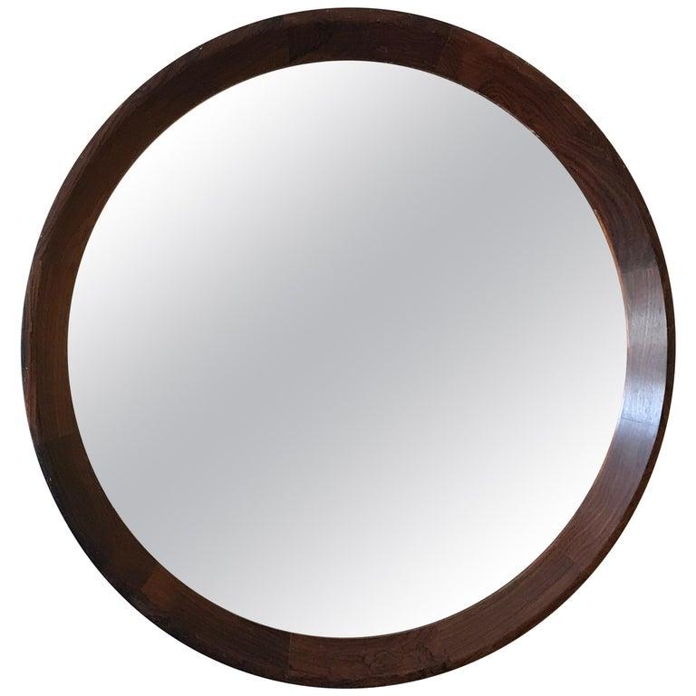 Round Danish Rosewood Mirror by Hans Gustav Ehrenreich For Sale