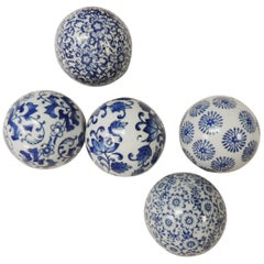 Set of Five Blue and White Decorative Ceramic Balls