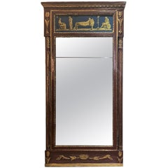 Antique Hand-Painted Mirror with Silver Leaf Glass