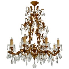 Gilded Brass Eight-Light Chandelier with Leaves and Crystal