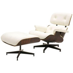 Eames Lounge Chair and Ottoman, Early Rosewood, New Herman Miller White Leather