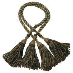 Set of 19th Century Green and Gold French Tassels with Rope Tie Back