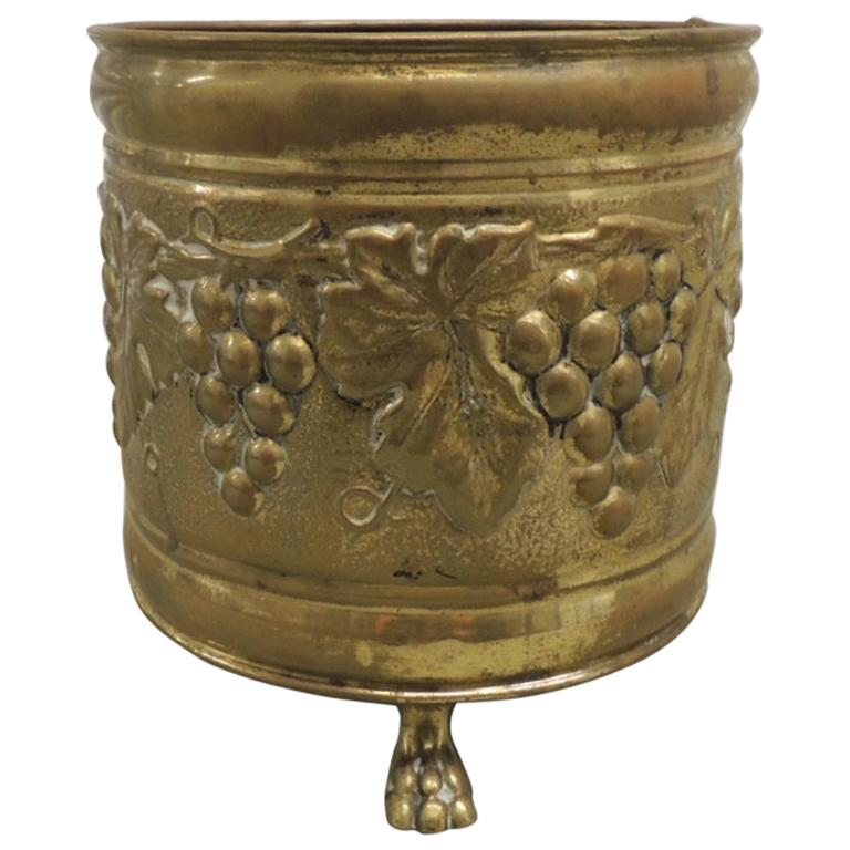 Vintage Repousse Round English Brass Planter
