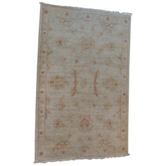 Oushak Tan and Orange Turkish Area Rug with Fringes